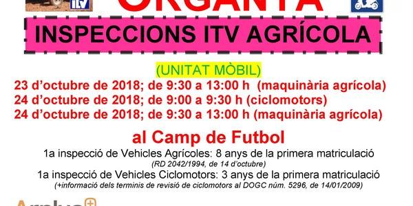 INSPECCIONS ITV AGRÍCOLA (ciclomotors i tractors)