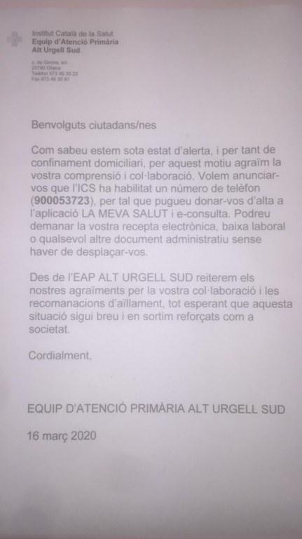 """Nota de Equip Atenció Primària Alt Urgell Sud sobre """"La Meva Salut"""""""