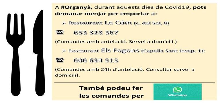Restaurants amb servei telefònic o whatsapp